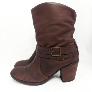 ALDO Brown Leather Slouch Ankle Harness Boots 6.5